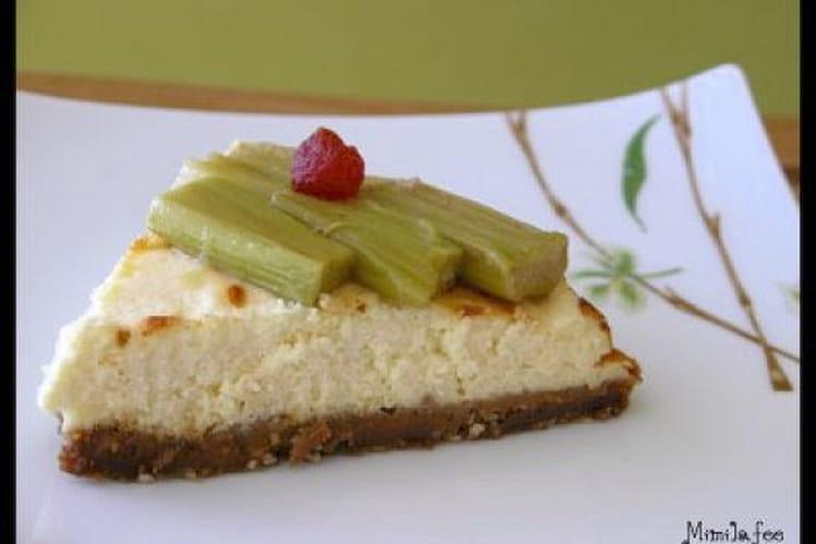 Cheesecake d'amour à la rhubarbe pochée