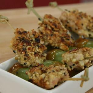 brochettes de dinde et raisins caramélisés
