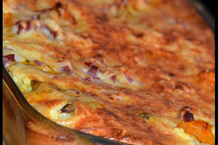 Clafoutis au potimarron, champignons et bacon