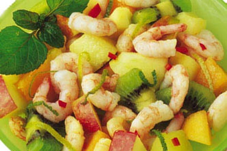 Salade de crevettes aux fruits