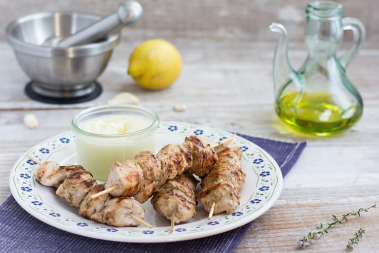Brochettes Libanaises de Poulet Fermier  d'Auvergne, crème d'ail