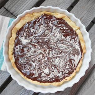 tarte chocolat noir et chocolat blanc