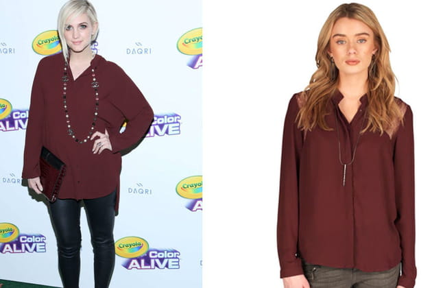 Ashlee Simpson : un chemisier bordeaux