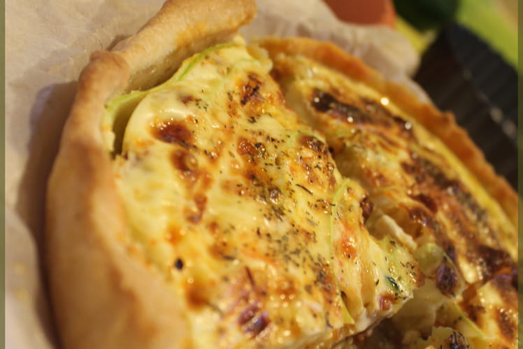 Quiche courgette, chorizo, camembert