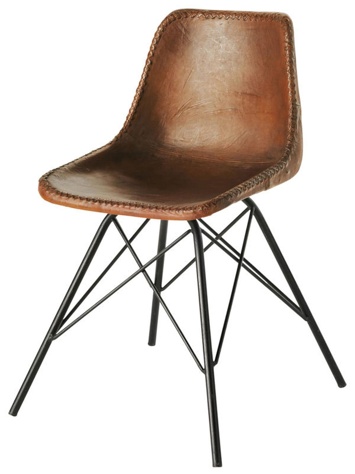 chaise vintage en cuir marron. Black Bedroom Furniture Sets. Home Design Ideas