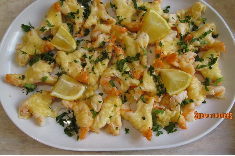 Crevettes gratinées au fromage