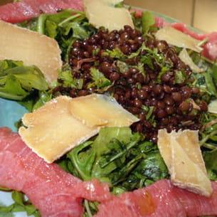 carpaccio et salade de lentilles