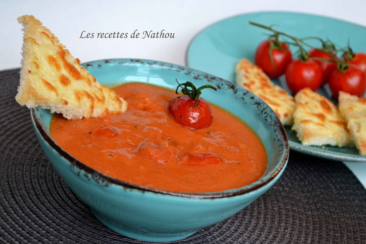 Soupe de tomates cerise confites au mascarpone
