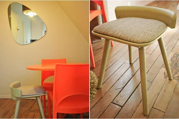 Table à manger et chaises récup' et colorées