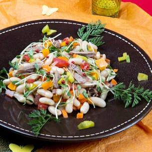 salade de haricots blancs, canard et mangue