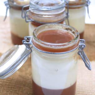 panna cotta au chèvre et chocolat blanc, gelées de marron et d'expresso