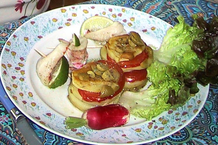 Roulade de rouget et gâteau de pommes de terre
