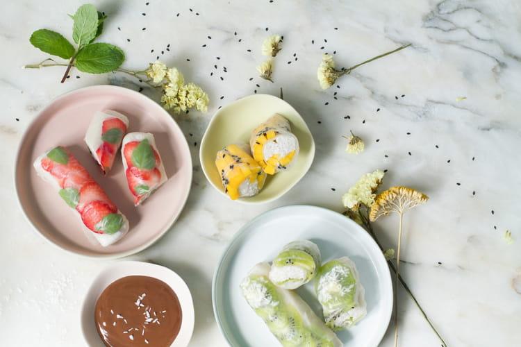 Rouleaux de printemps aux fruits frais et pudding de tapioca