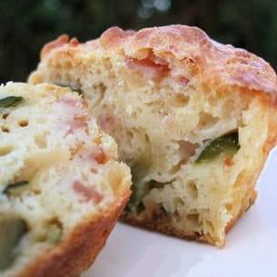 muffins courgettes, jambon et cumin