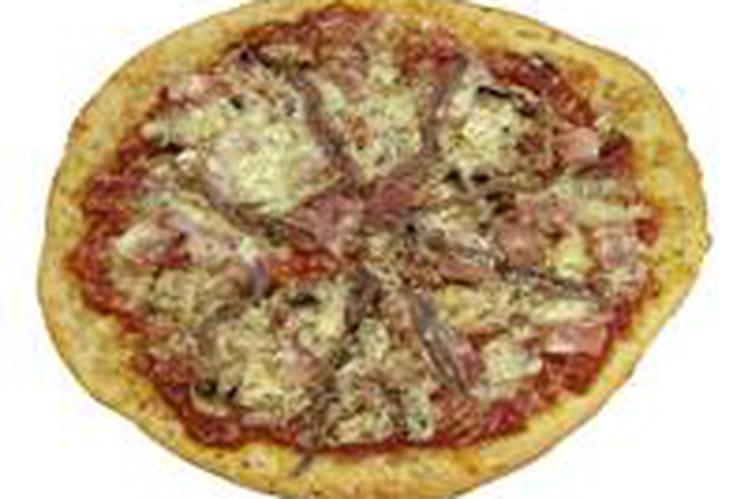 Pizza au jambon et aux anchois