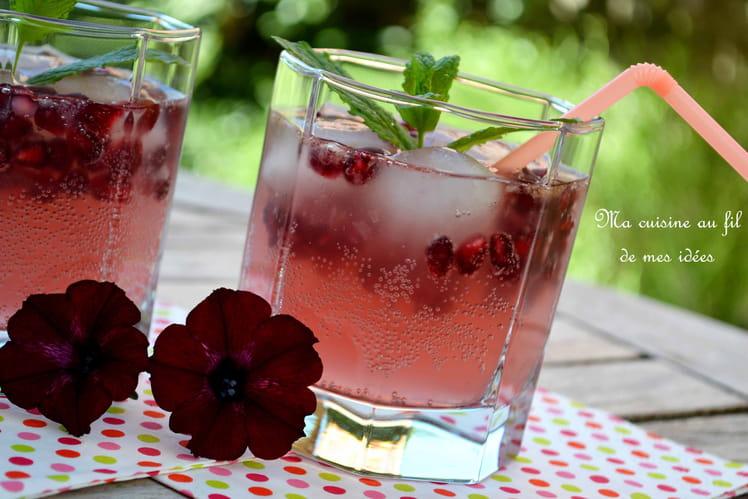 Cocktail Pink Tonic sans alcool au pamplemousse rose, cassis, citron vert et grenade