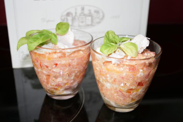 Verrine feta-tomate aux émincés de poulet