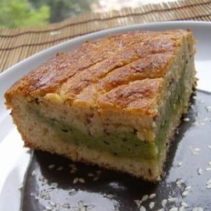 gâteau basque au thé matcha et noisettes