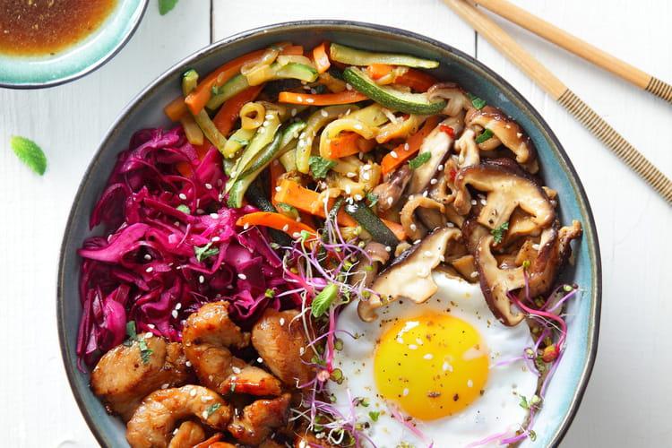 Bibimbap Coréen au poulet fermier Label Rouge et aux oeufs Bio Label Rouge