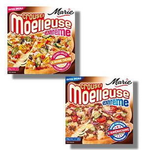 pizzas 'croustimoelleuse extrême' chèvre et américaine