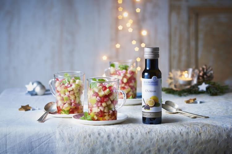 Verrines de grenade, pommes granny, betterave, fleur d'oranger et huile O'Citron par Bio Planète