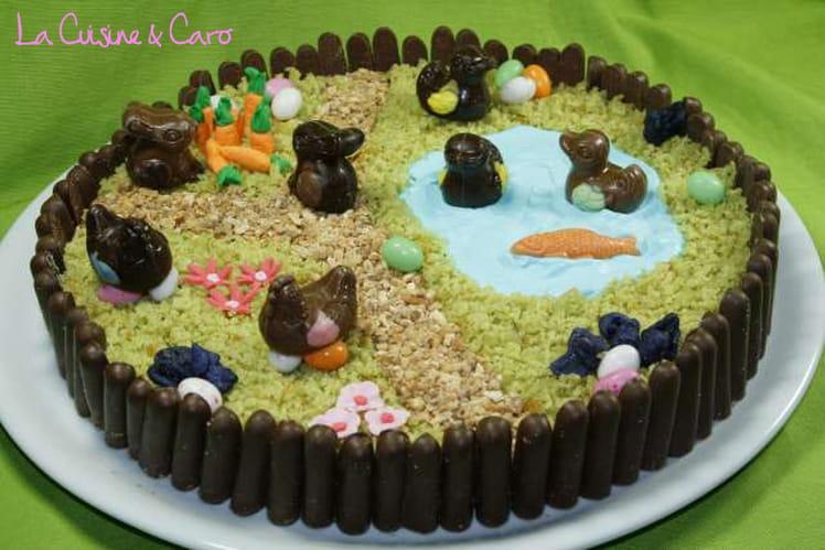 Gâteau de Pâques Jardin violette-pistache
