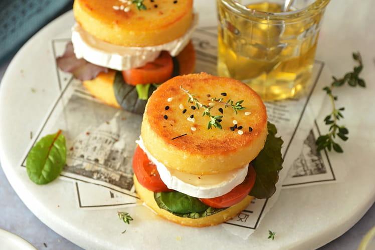 Burgers de polenta chèvre, miel et thym