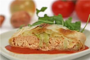la croustade de saumon et tomacouli saveur oignon échalote