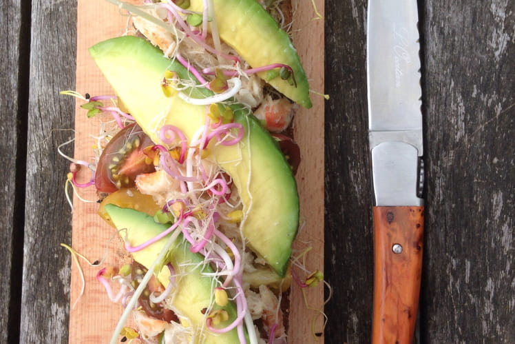 Sandwich avocat-crabe multicolore