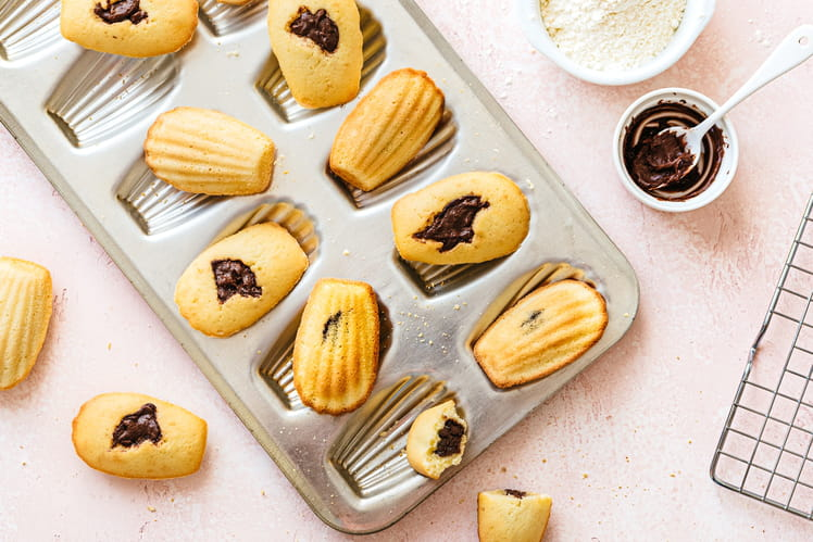 Madeleines au coeur cacao noisette