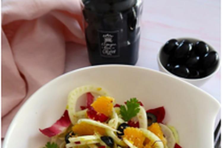 Salade de fenouil à l'orange, au safran et aux olives d'Espagne Hojiblanca