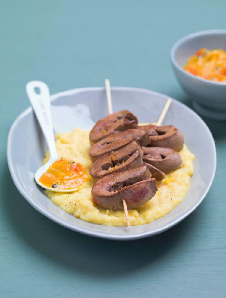 Recette de brochettes de rognons de porc pur e de ma s et - Cuisiner rognons de porc ...