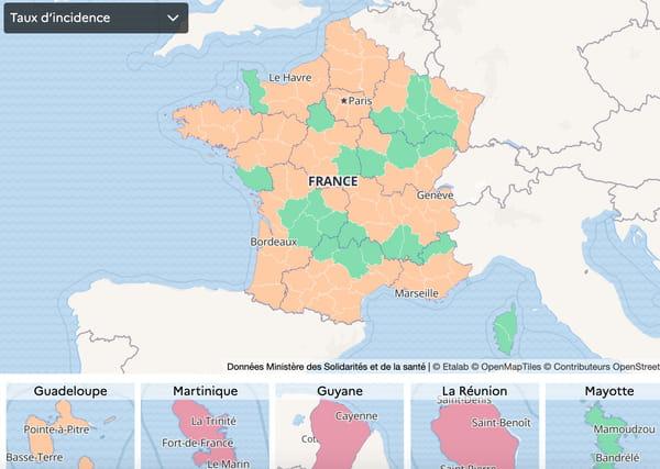 Karta zakażenia Covid-19 – Francja