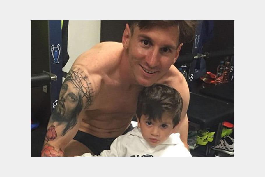 Lionel Messi et son fils Thiago