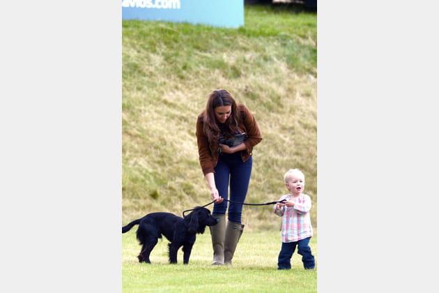 Avec sa nièce et son chien