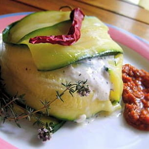 timbale de courgette au fromage de chèvre frais
