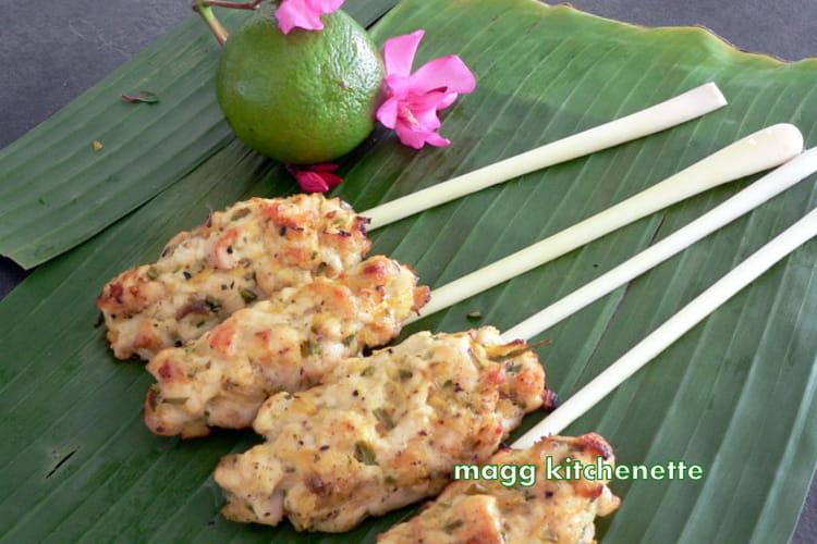 Brochettes de poulet au gingembre, curcuma et à la cannelle