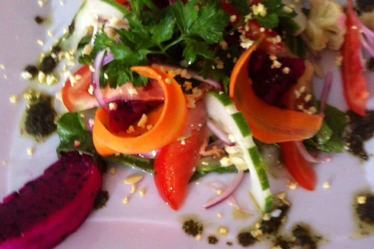 Salade multicolore au Pitaya et pastèque