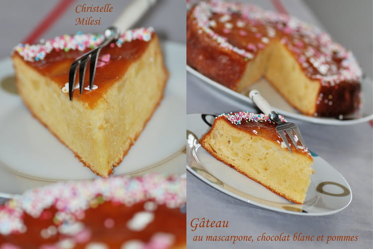 Gâteau au mascarpone, chocolat blanc et pommes
