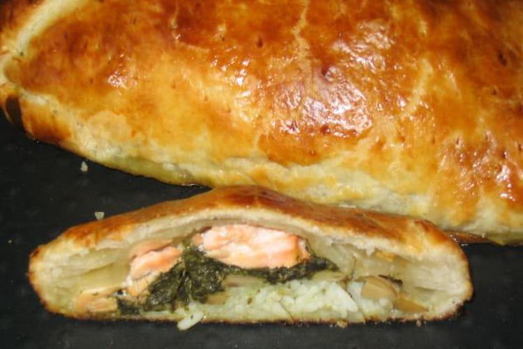 Koulibiac de saumon à l'oseille et champignons de Paris