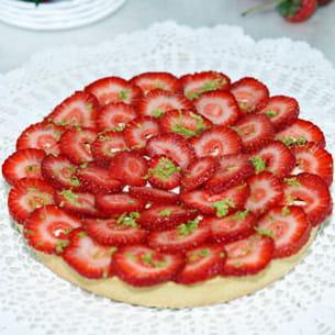 tarte aux fraises avec crème de lemon curd et philadelphia