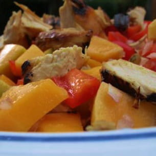 salade colorée mangue et poulet
