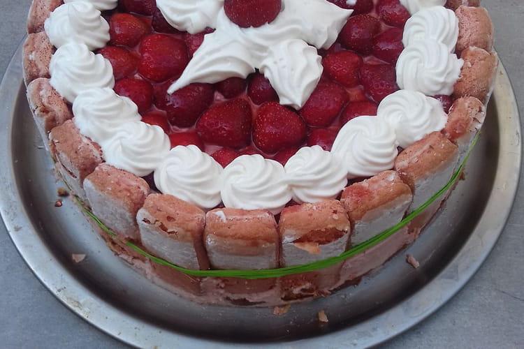 Charlotte aux fraises et biscuits roses de Reims