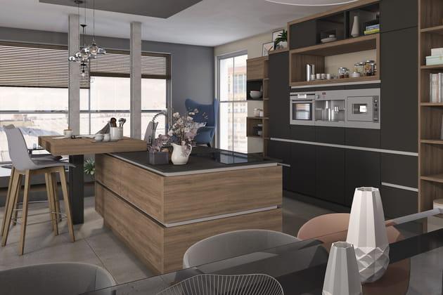 L'îlot de cuisine avec bar