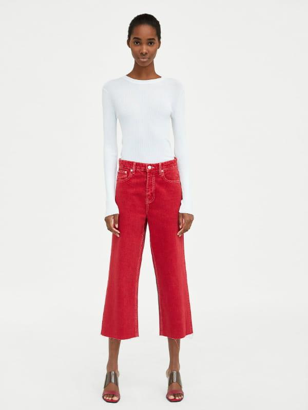 taille 40 b81ac f5c2f Jean façon jupe culotte de Zara