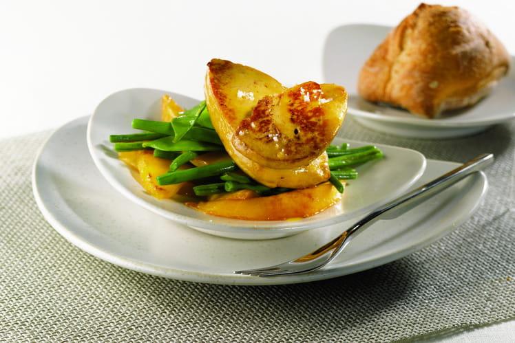 Escalopes de foie gras de canard et mangues à la plancha