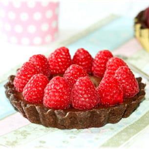 tartelette cacao ganache praliné et framboises