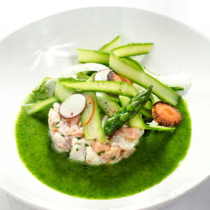 ceviche de sébaste et saumon - tagliatelles d'aspe