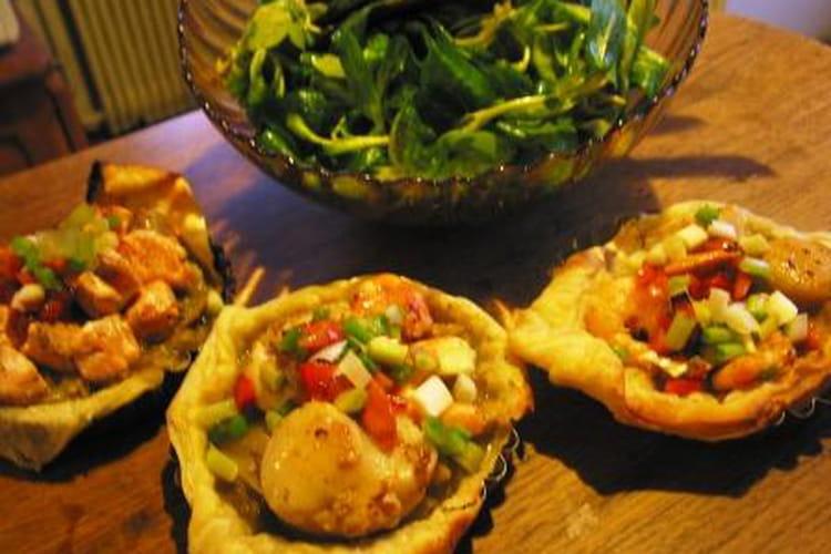 Tartelette de  Saint-Jacques aux petits légumes
