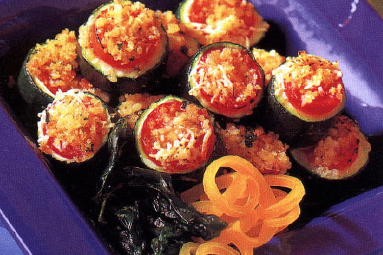 Courgettes grillées au gruyère et aux tomates